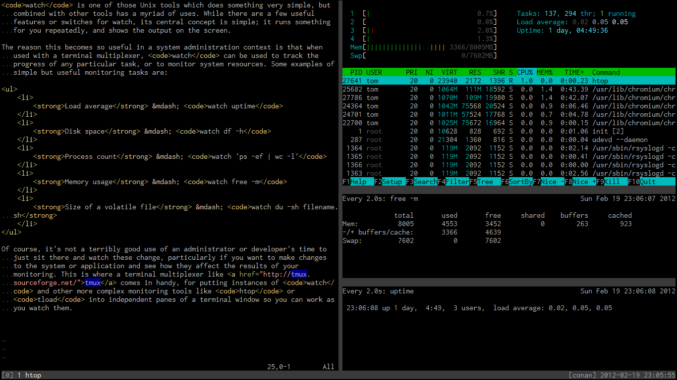 Monitoring tasks running in tmux