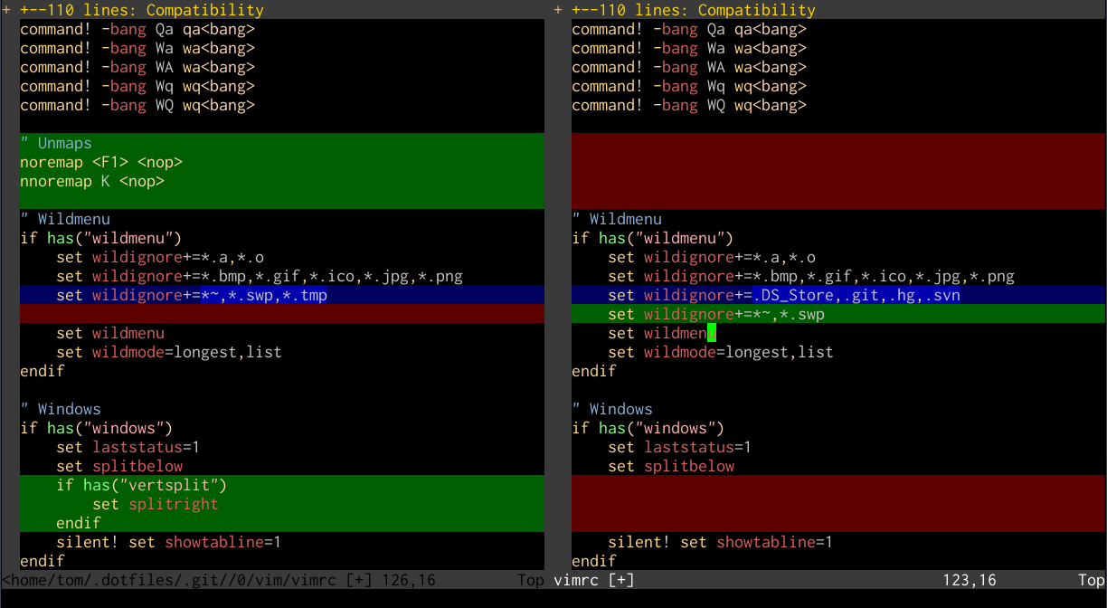 Vim diffing a .vimrc file