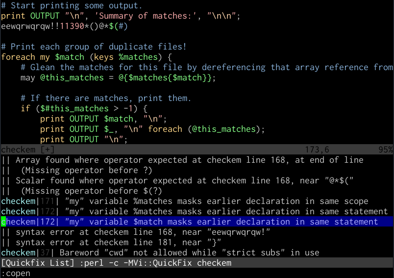 Vim quickfix working on a Perl file