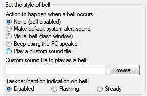 Using taskbar bell in PuTTY