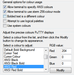 Defining colorschemes in PuTTY