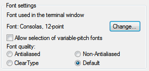 Using Consolas font in PuTTY