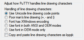 Using Unicode line-drawing points in PuTTY